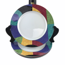 """Four Mikasa California Currents Luncheon Plates Multi Color Abstract M5101 8"""" - $46.71"""