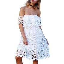 White Off Shoulder Floral Lace Women Summer Mini Dress - $37.98