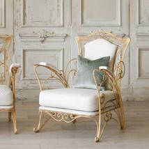 Pair of Antique Buttermilk Cream Wrought Iron Garden Chairs,30'' x 38''H - $1,678.05
