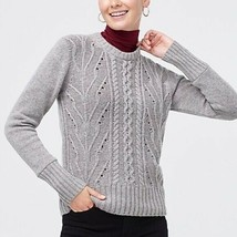 J.Crew Factory Womens Large Sweater Gray Pointelle Cable Knit Pullover W... - $26.99