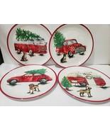 Christmas Novogratz Vintage Red Truck Dog Melamine Dinner Plates Set of 4  - $39.99