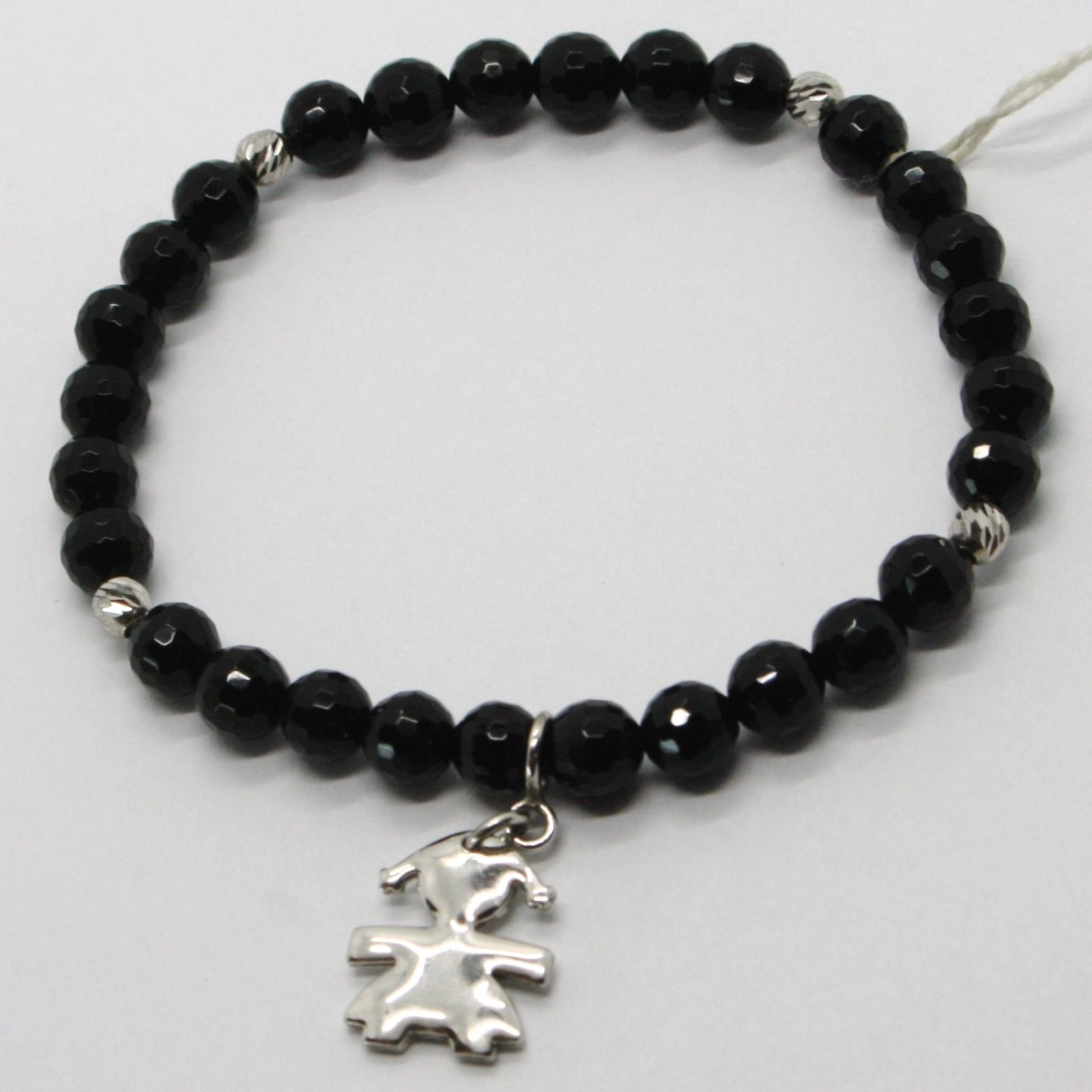 925 STERLING SILVER BRACELET WITH FACETED BLACK ONYX BALL & BABY GIRL PENDANT