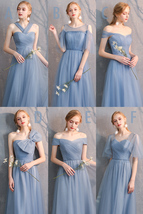 Maxi Bridesmaid Dress Tulle Bridesmaid Dresses with Sleeves Dusty Blue Burgundy image 3