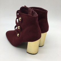 Qupid ankle booties, Burgundy And Gold , Gold Block Heels, Size 9.0 - $27.72