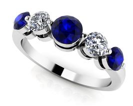 14K White Gold Fn 0.40 Ct Round Cut Sapphire & Sim Diamond Anniversary B... - $115.99