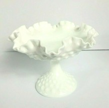 Fenton White Milk Glass Hobnail Ruffled Pedestal Compote Signed  VTG - $34.64