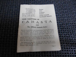Old Vtg 1950's Whitman Publishing THE OFFICIAL CANASTA RULES & VARIATION... - $9.89