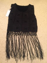 funky black Boho Festival Fringe Top Size 10 BNWT-new with tags. - $25.24