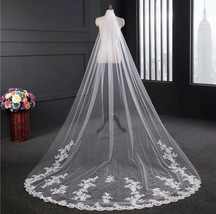 One-tier Lace Applique Edge Cathedral Wedding Veil White or Ivory - $54.00