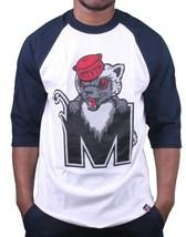 Motivation Ann Arbor Mens Navy White Hiding Mascot 3/4 Sleeve Raglan T-Shirt NWT