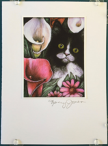 Cat Art Notecard - Black & White Cat with Callas - $4.50