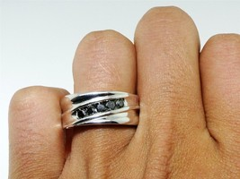 Mens Anniversary Black Diamond Ring Band 14k White Gold Finish 925 Solid... - £68.75 GBP