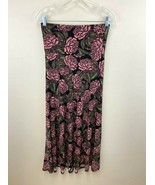 Lularoe XS Maxi Skirt Stained Glass Mosaic Pink Rose Floral Slinky - $21.99