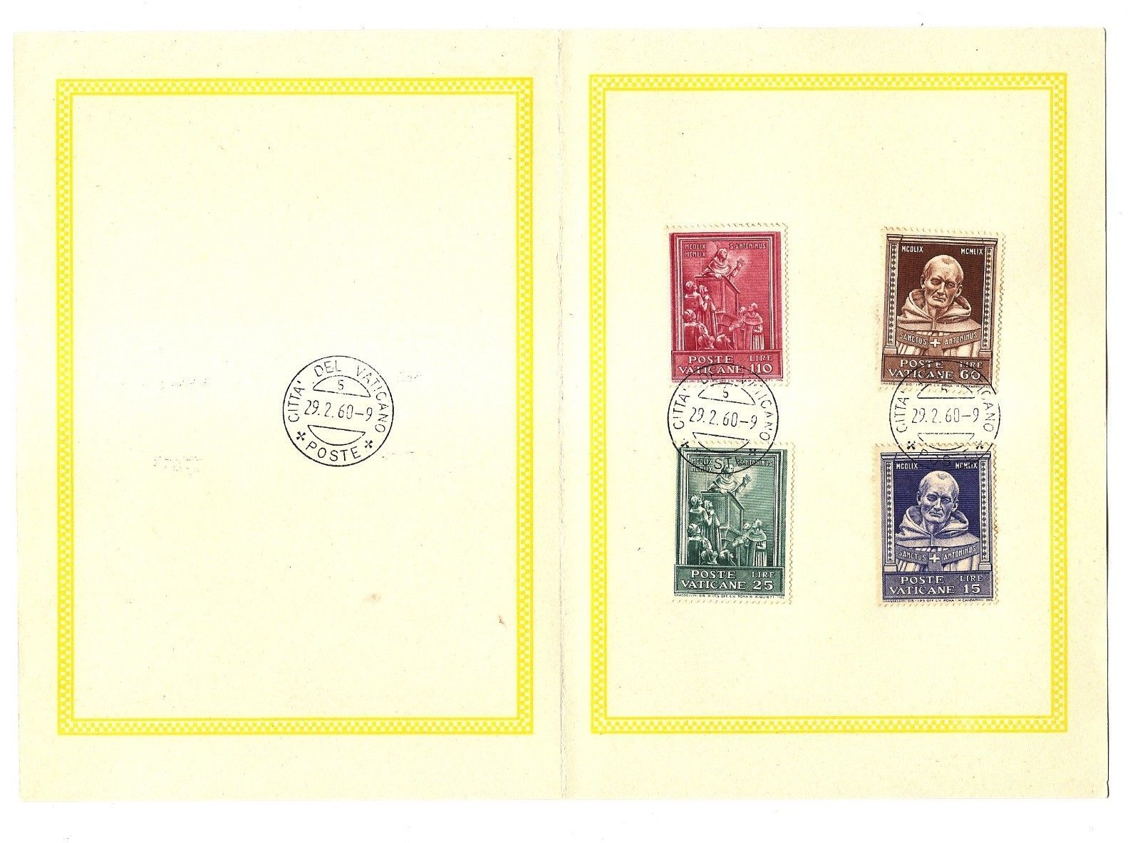 VATICAN CITY - First Day Folders - 1960 - 2 issues