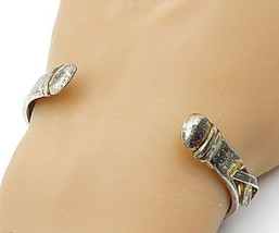 925 Sterling Silver - Vintage Smooth Ribbon Detailed Round Cuff Bracelet... - $61.39