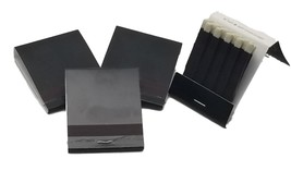 50 plain BLACK matches matchbooks with white tips wedding, 20 strike  - $3.96