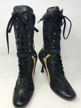 "Steven by Steve Madden Women 4"" High Heel Sz 8.5 Black Yellow Leather Ny... - $32.15"
