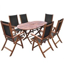 Patio Dining Set Outdoor Garden Folding Chairs Yard Oval Table Acacia Wo... - €404,20 EUR