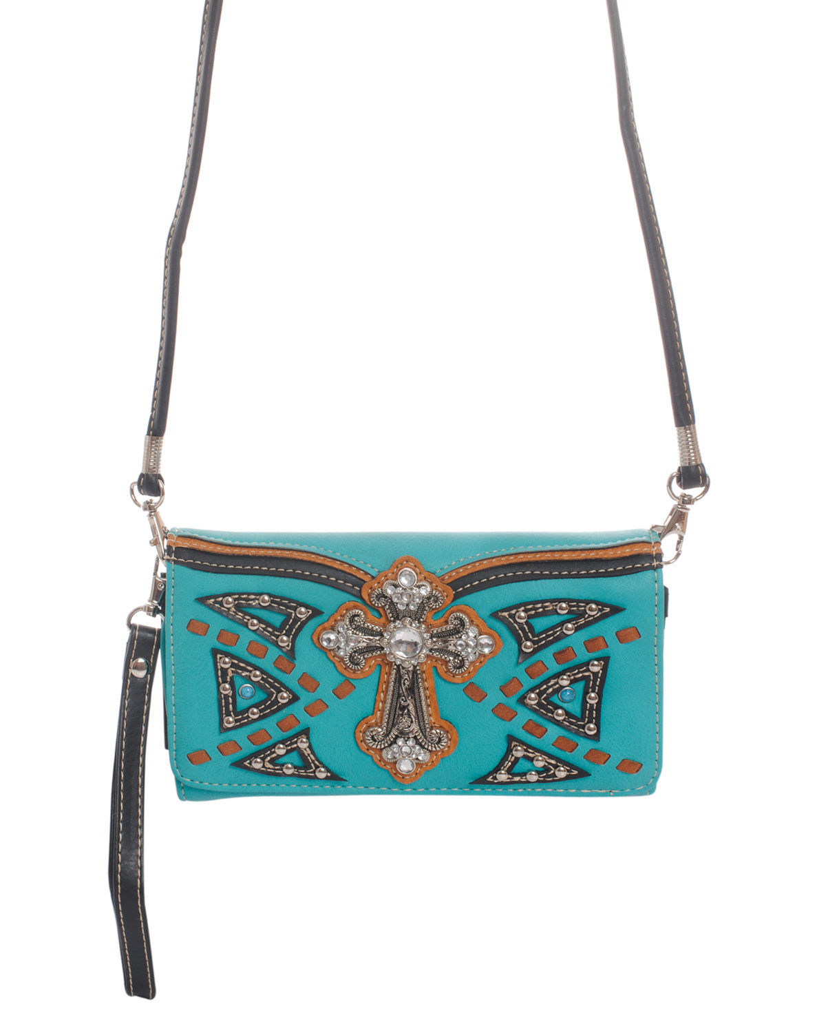 Studded Western Cross Body Shoulder Strap Wallet Clutch Purse Turquoise