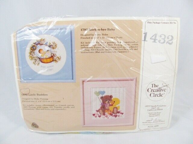 "Primary image for The Creative Circle Little Buddies Bear & Duck Embroidery Kit #1432  9"" x 9"""