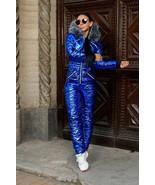 Mens Womens Customized Metallic Blue Winter Ski Suit Overall Jumpsuit Gl... - $249.00