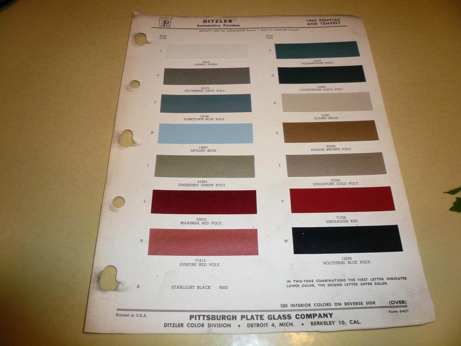 1964 Pontiac Tempest Ditzler Ppg Color And 50 Similar Items Dodge Chips Chip Paint Sample