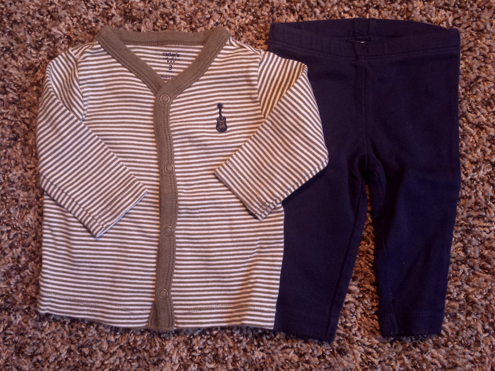 Boy's Size 3 M 0-3 Months 2 Piece Carter's Gray Striped Guitar Top & Navy Pants