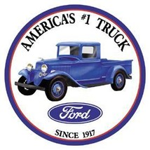 Ford Pickup Truck with  logo on a 12 inch round metal tin sign - $21.00