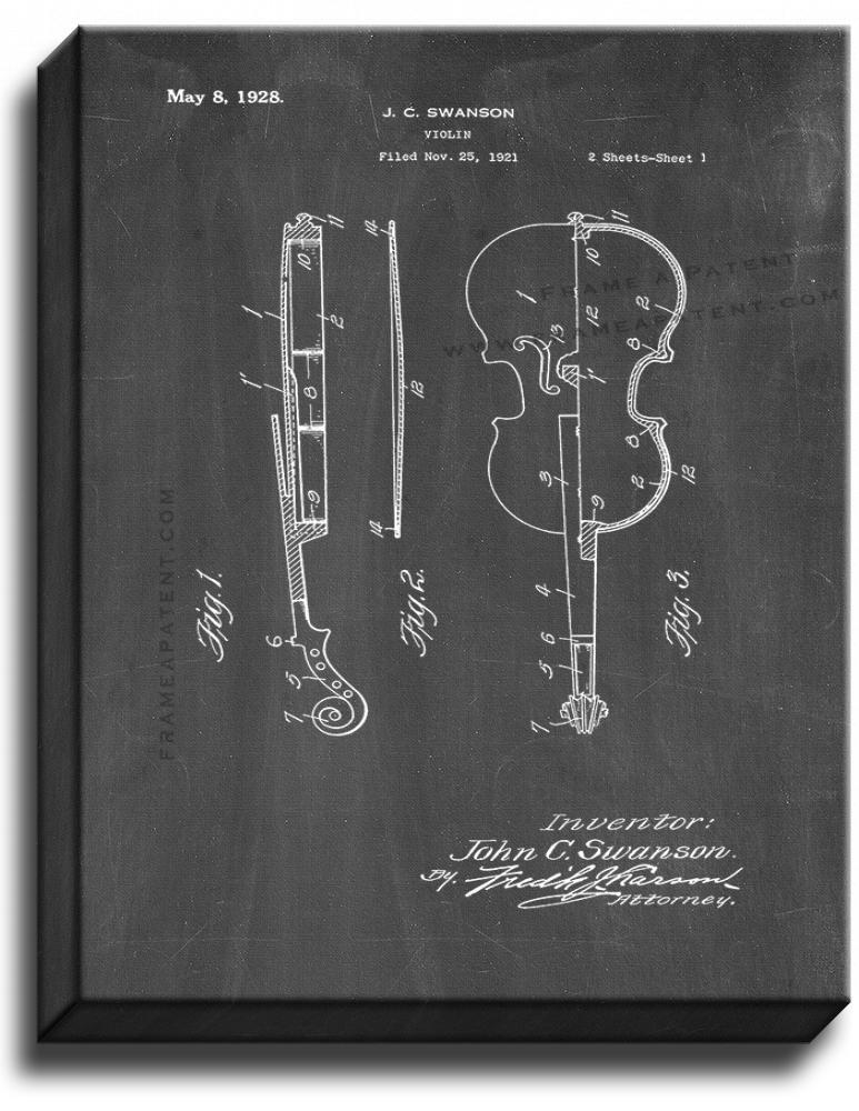 Primary image for Violin Patent Print Chalkboard on Canvas