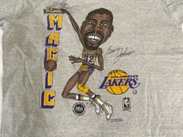 Vintage Magic Johnson T-Shirt Los Angeles Lakers Size M USA Made Bob Lanter image 2