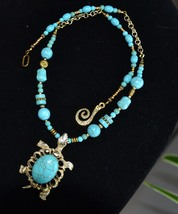 Turtle Necklace, Turquoise and Gold, Tortoise Boho, Protection Totem (344) - $29.00