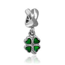 Green Four Leaf Clover Silver Plated Bead Oil-drip Big Hole Charm Pendan... - $5.21