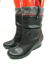 Merrell Womens Lily Wedge Pull On Leather Boots Vibram Sole US Size 8 - $38.61