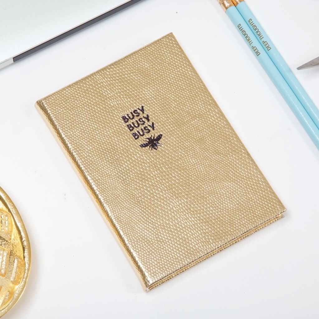 New gold covered embossed Busy Busy Bee Journal