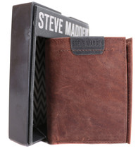 Steve Madden Men's Leather Trifold Wallet Brown New /w Defect N80008/01