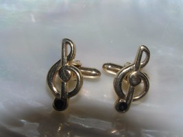Vintage Swank Signed Goldtone Music Treble Clef Cuff Links for Musician ... - $12.19