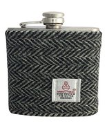 Harris Tweed Hip Flask 6oz - Black and Grey Herring Bone Design Hand Mad... - $34.65