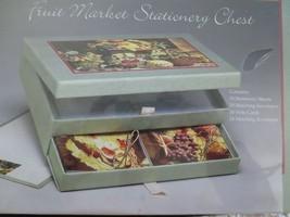 NIB FRUIT MARKET STATIONERY CHEST w/30 Sheets, 24 Note Cards & Envelopes - $17.82