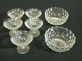 Set of 2 Fostoria American Serving Bowls with 5 Ice Cream or Sherbert Cups - $99.99
