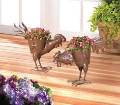 2 STRUTTING COUNTRY ROOSTER PLANTERS Metal Sculptures Outdoor Décor - $44.14 CAD