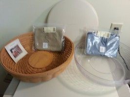 Longaberger Serving Basket Super Combo With 2 Fabric Liners Serve Around - $98.95