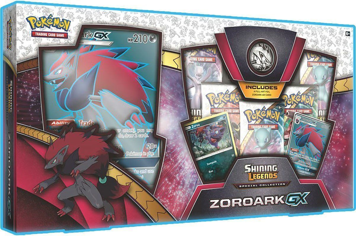 Pokemon Zoroark GX Collection Box Shining Legends 5 Booster Packs Promo Card TCG