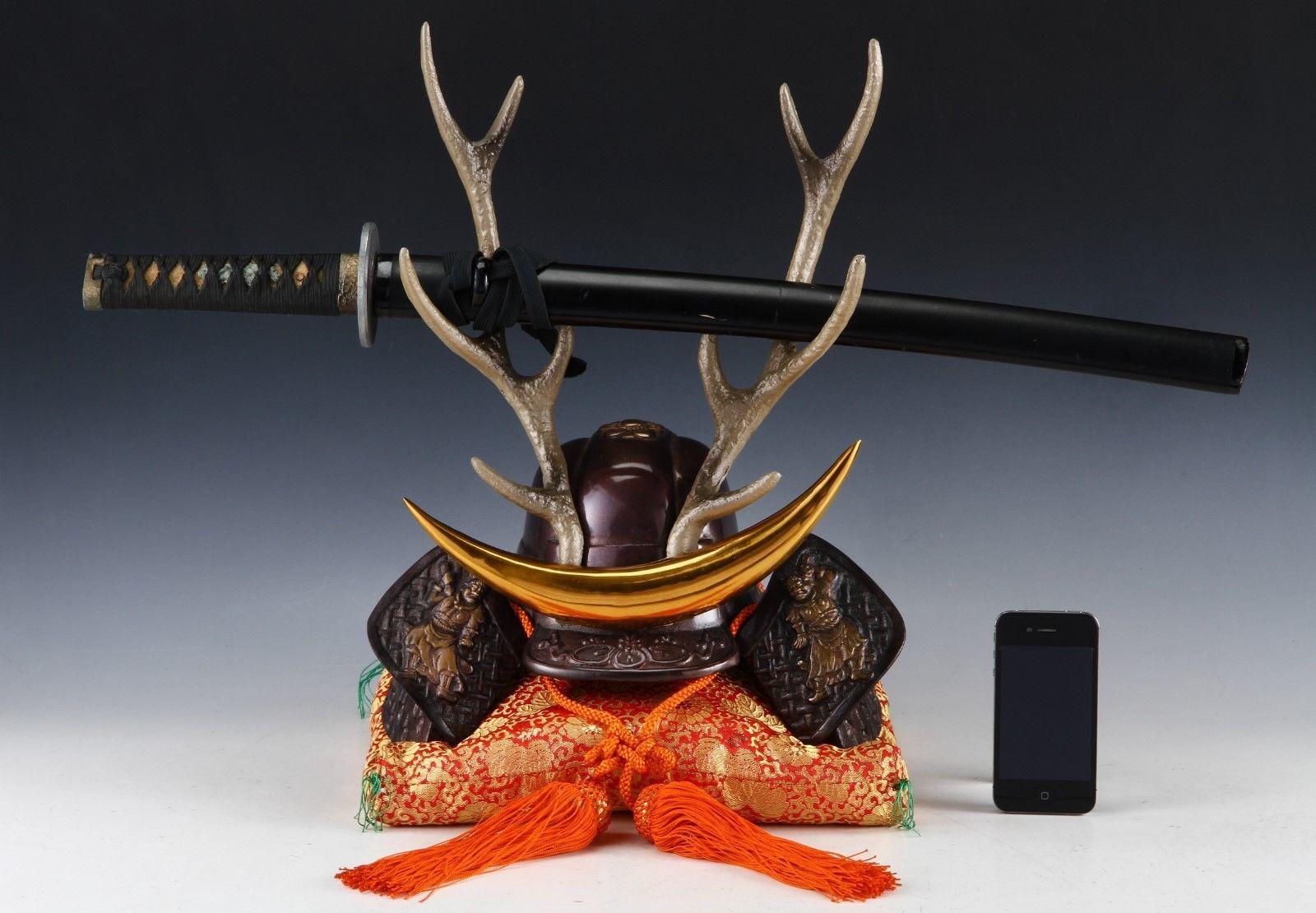 Japanese Beautiful Samurai Helmet -shikanosuke kabuto- with a Replica Blade image 12