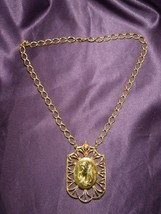 Vintage 60's Caricature Woman Portrait Gold Tone Chain Necklace W Red Rh... - $24.75