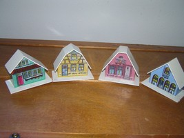Vintage Lot of 4 Small White Plastic w Sticker Fronts Houses Barn for Ch... - $9.49