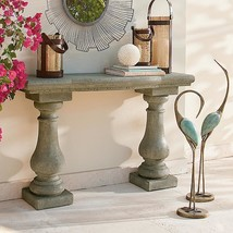 Handcrafted Cast Faux Stone Granite Outdoor Console Table Patio Garden F... - $389.45