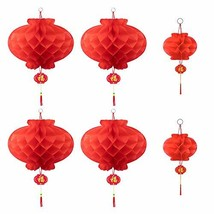 Chinese Red Paper Lanterns for Spring Festival Hanging Lanterns New Year... - $15.02
