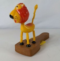 Plastic Lion Push Button Puppet Collapsing Toy, British Patent Made In H... - $7.49