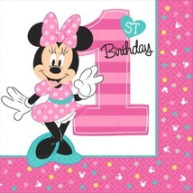 Minnie Mouse Fun to Be One 16 Luncheon Napkins 1st Birthday - £3.79 GBP