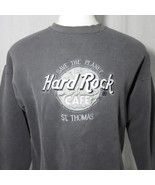 Vintage Hard Rock Cafe XL St Thomas Gray Distressed Sweatshirt Embroider... - $69.25
